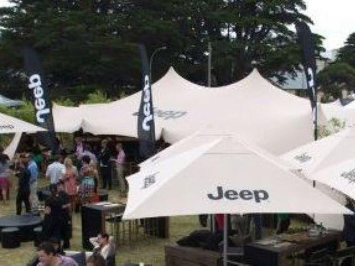 Branded screen printed marquee - jeep australia stretch tent
