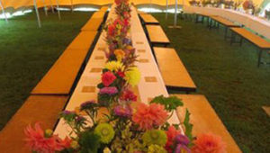 Dining table under Stretch Tent